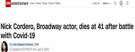 百老汇演员尼克-科德罗感染新冠去世 曾因并发症截肢
