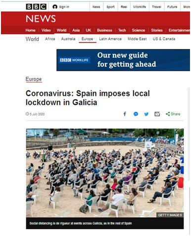 新冠疫情加剧 西班牙加利西亚重新局部封锁:涉7万人