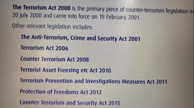 △2000年以来,英国颁布和修订的一些国家安全类相关法律。