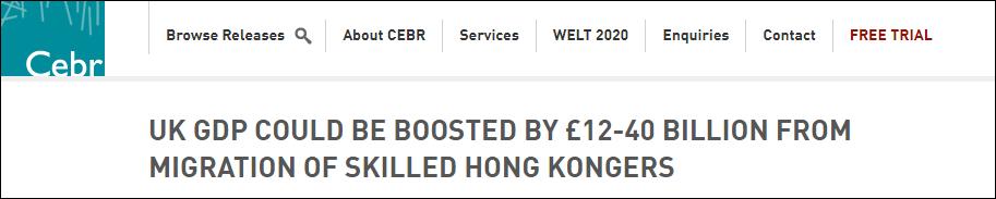 想得挺美!英智库:BNO港人移民可带来400亿英镑收入
