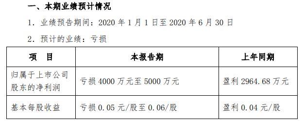 青岛双星2020年上半年预计亏损4000万元至5000万元 受疫情影响总体利润仍然亏损