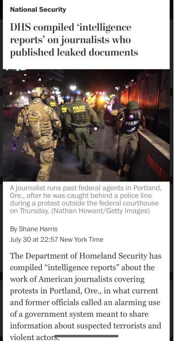△《华盛顿邮报》称,只因记者发表内部文件,美国国土安全部竟然汇编记者信息,引发舆论哗然
