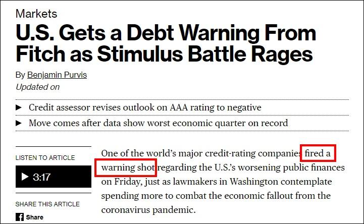 """美国经济遭""""休克式打击"""",惠誉评级送""""警告子弹"""