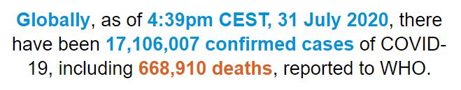 世卫组织:全球新冠肺炎确诊病例超过1710万例
