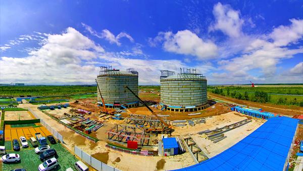 国内容积最大的液化天然气三层金属全容罐外罐成功落地 中国建筑承建