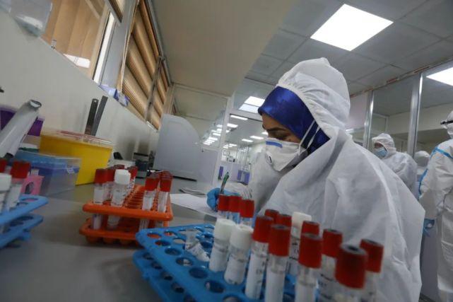 7月29日,伊拉克巴格达,检测人员在实验室中记录待检样本信息。新华社发