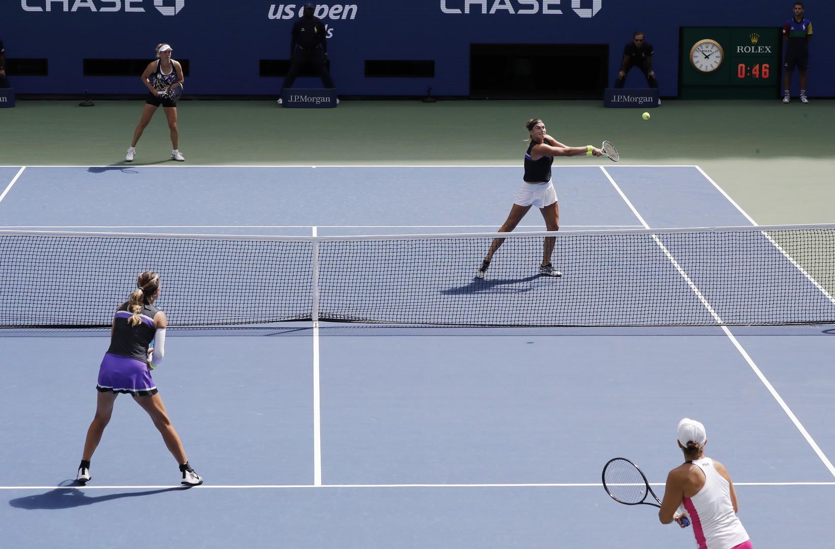 ↑2019美网公开赛女双决赛(资料图据IC Photo)