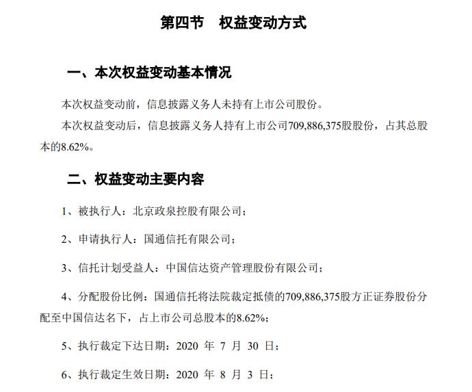 中国信达拿下方正证券8.62%股权!晋身第三大股东!