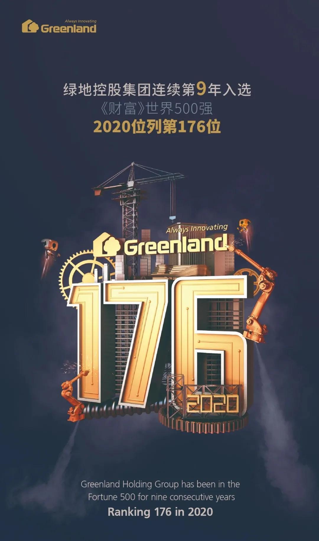 2020世界500强公布:绿地集团位列第176位~跃升26位!