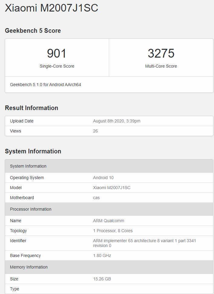 小米 Apollo 新旗舰现身 Geekbench:性能介于骁龙 865 和 865 Plus 之间