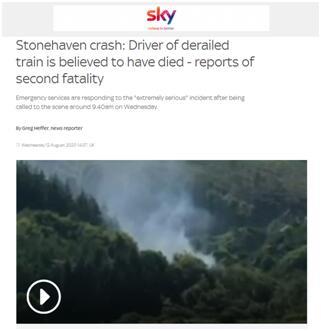 苏格兰客运列车脱轨已致1死多伤 英媒:火车司机死亡
