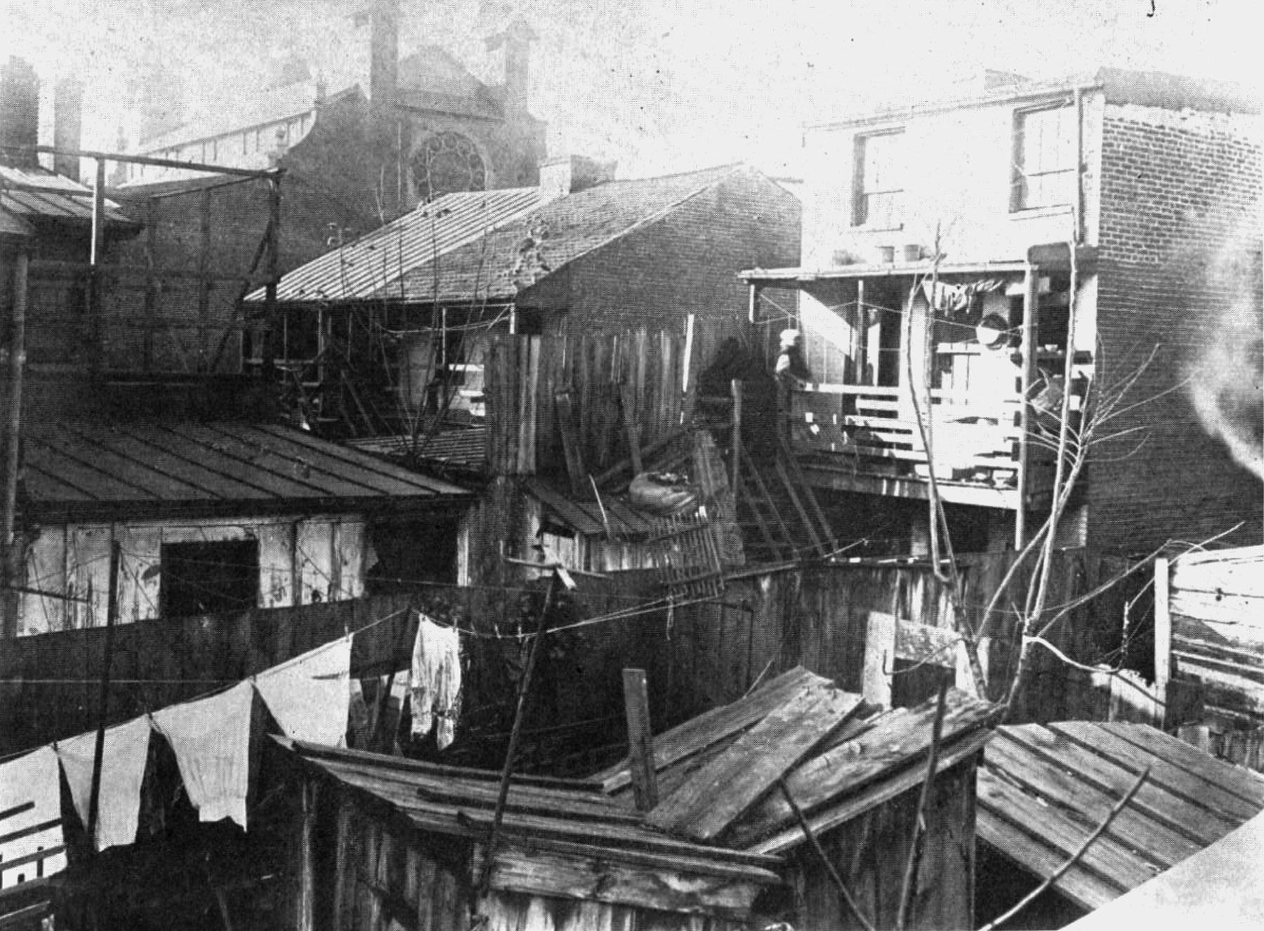 △1907年,非洲裔美国人在巴尔的摩市的居住环境 图片来源:《纽约时报》