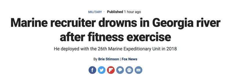 今年第5起!美国一名海军陆战队员下河游泳意外溺亡
