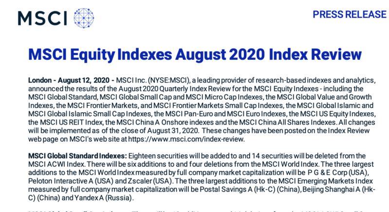 卓胜微、京沪高铁、邮储银行3只A股股票被MSCI中国指数纳入!