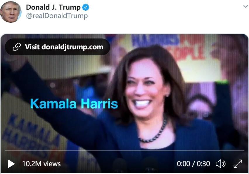 △特朗普推发攻击哈里斯的竞选广告
