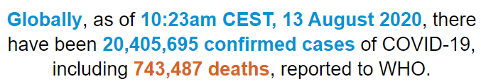 世卫组织:全球新冠肺炎确诊病例超2040万例