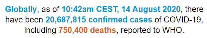 世卫组织:全球新冠肺炎确诊病例超过2068万例