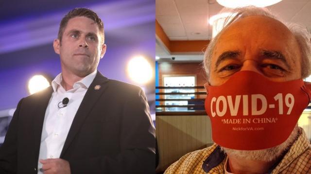美国共和党人科尔(右一)在社交平台分享了戴着该款口罩的自拍,并称这个口罩是他从弗雷塔斯(左一)那里买的。