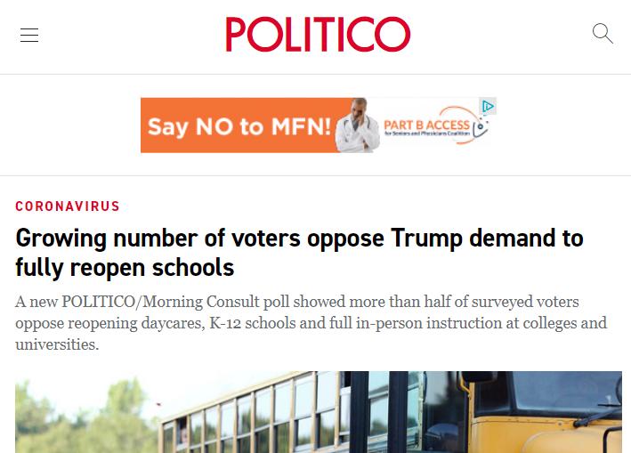 △《政客》报道称,越来越多的选民反对特朗普政府全面重启学校