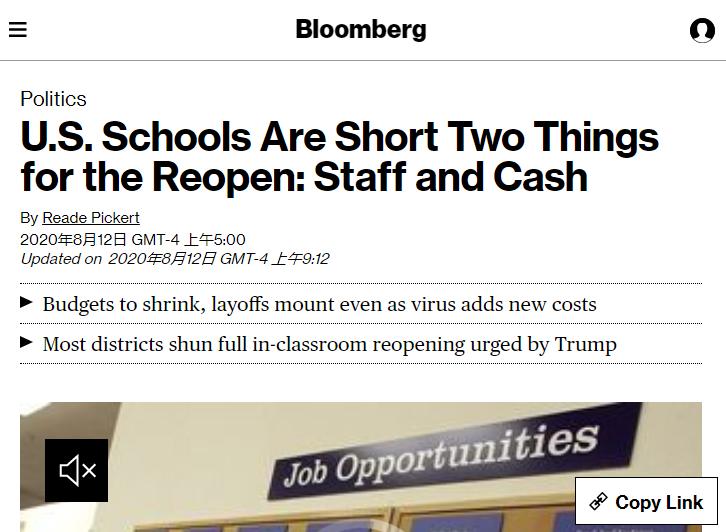 △彭博社称,美国学校重启缺两样东西:人手和资金