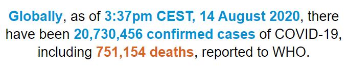 世卫组织:全球新冠肺炎确诊病例超过2073万例