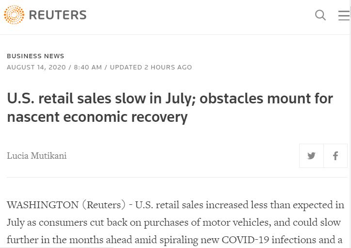 △ 路透社称,美国7月零售销售增速放缓,萌芽中的经济复苏面临诸多障碍