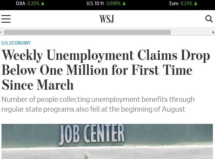 △《华尔街日报》称,这是3月疫情暴发以来,美国首次申请失业救济人数降至不到100万人