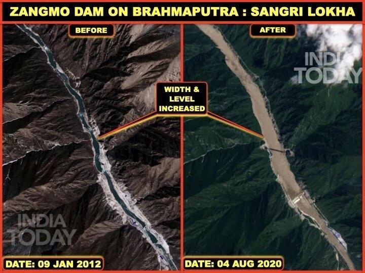 藏木大坝2012年和2020年卫星对比图。图源:《今日印度》