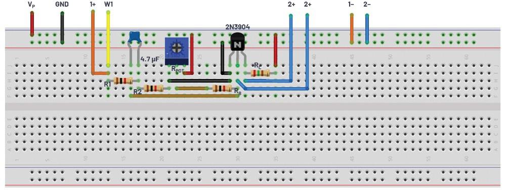图2.共发射极放大器测试配置面包板连接。