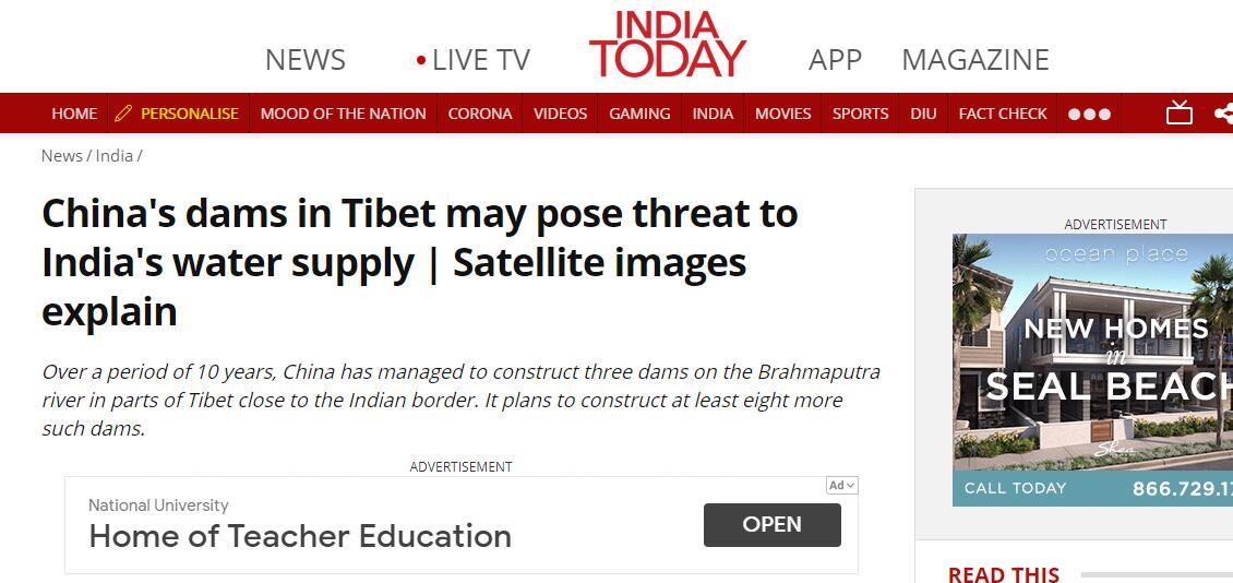 《今日印度》:卫星图像显示,中国在西藏的大坝可能对印度的供水构成威胁