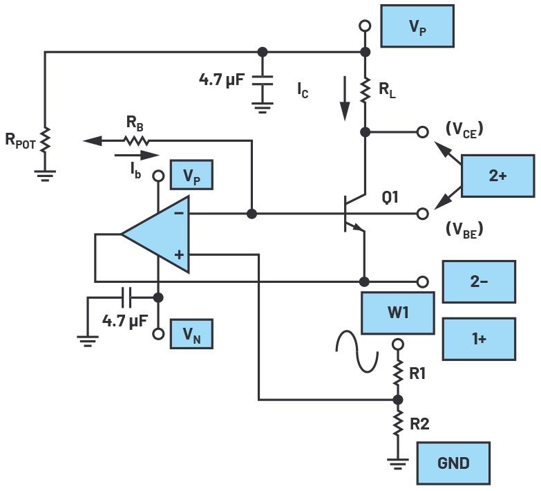 图5.替代方案的共发射极放大器测试配置。