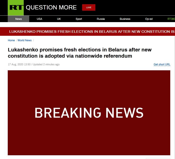 白俄罗斯总统承诺全民公投通过新宪法后举行新的选举