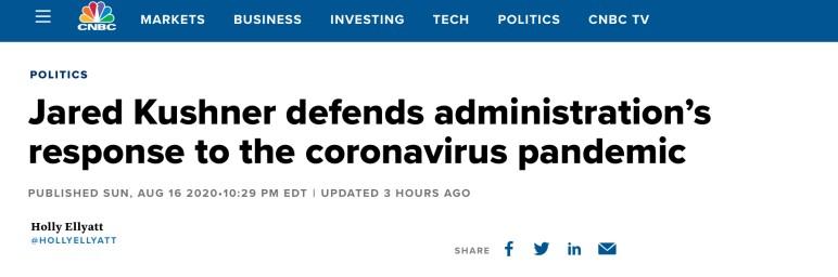 △CNBC称,库什纳领导了一个团队,旨在制订国家检测计划。尽管该计划搁浅,库什纳仍坚持为政府辩护