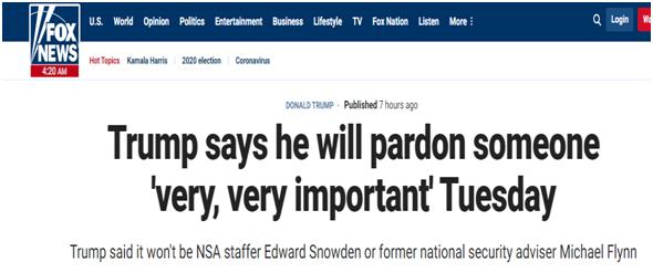 """特朗普称将赦免非常非常重要的人物 美媒都在""""猜""""!"""