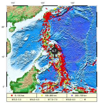 菲律宾萨马岛海域发生6.7级地震 没有监测到海啸