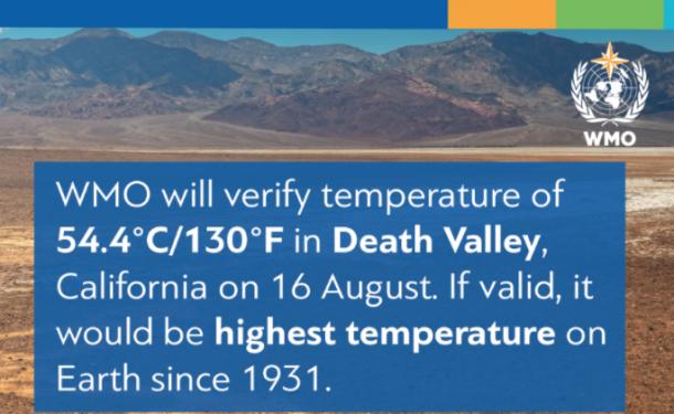 世界气象组织:美国加州死亡谷或达1931年以来最高温