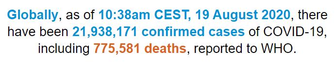 世卫组织:全球新冠肺炎确诊病例超过2193万例