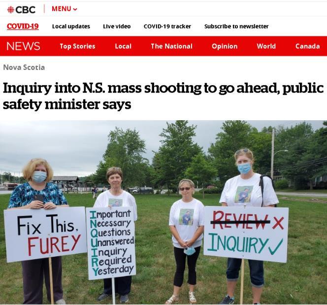 △加拿大广播公司7月28日宣布对4月份发生在新斯科舍省的大规模枪击事件展开独立调查