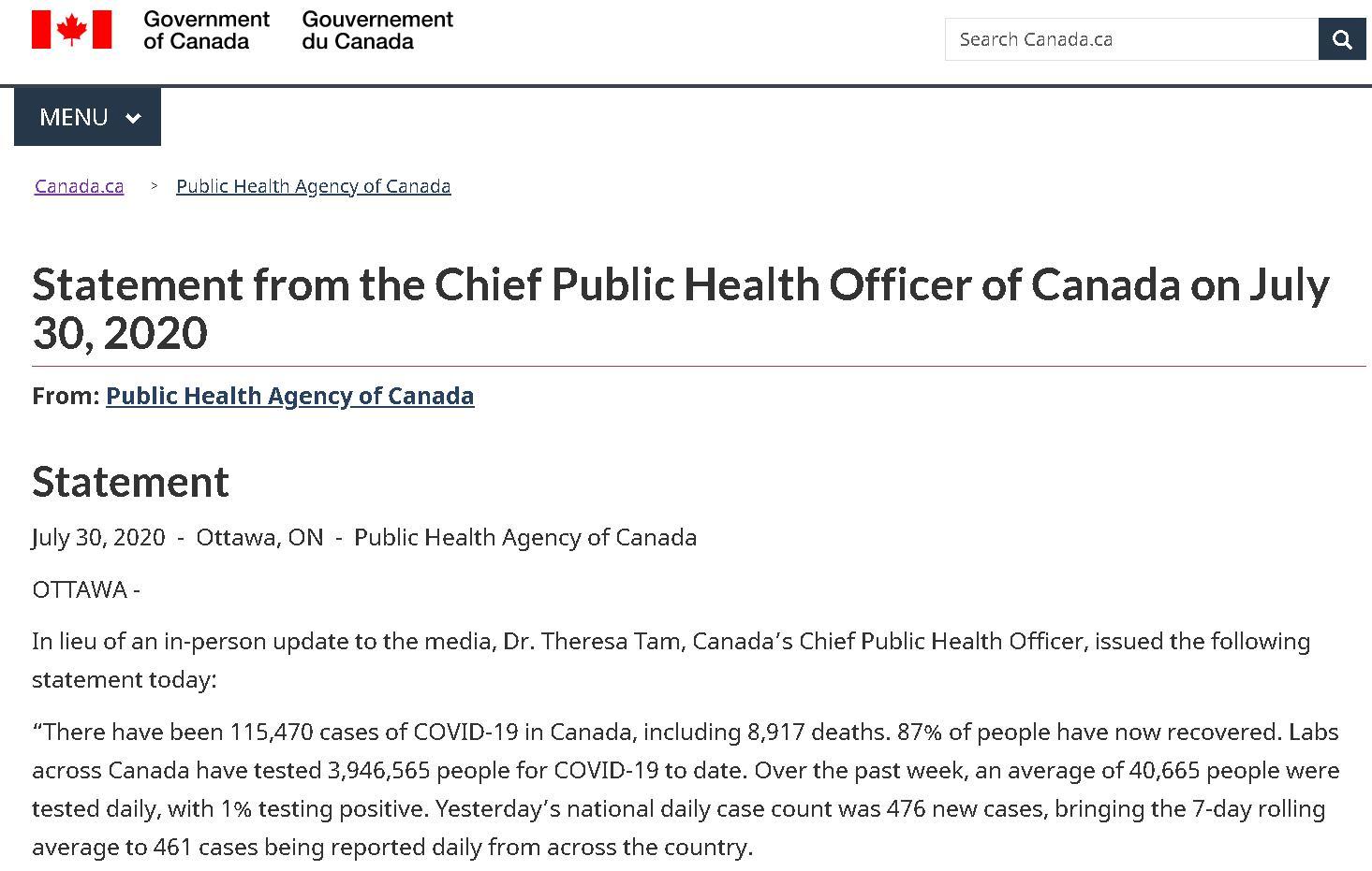 △加拿大联邦首席医疗官7月30日发表的全国新冠疫情的声明