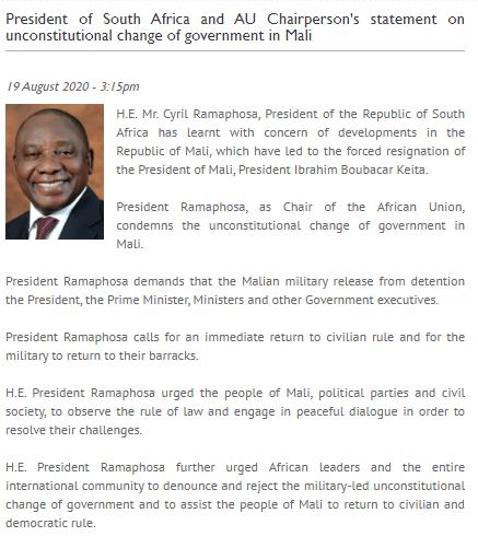 图片来自南非总统府网站