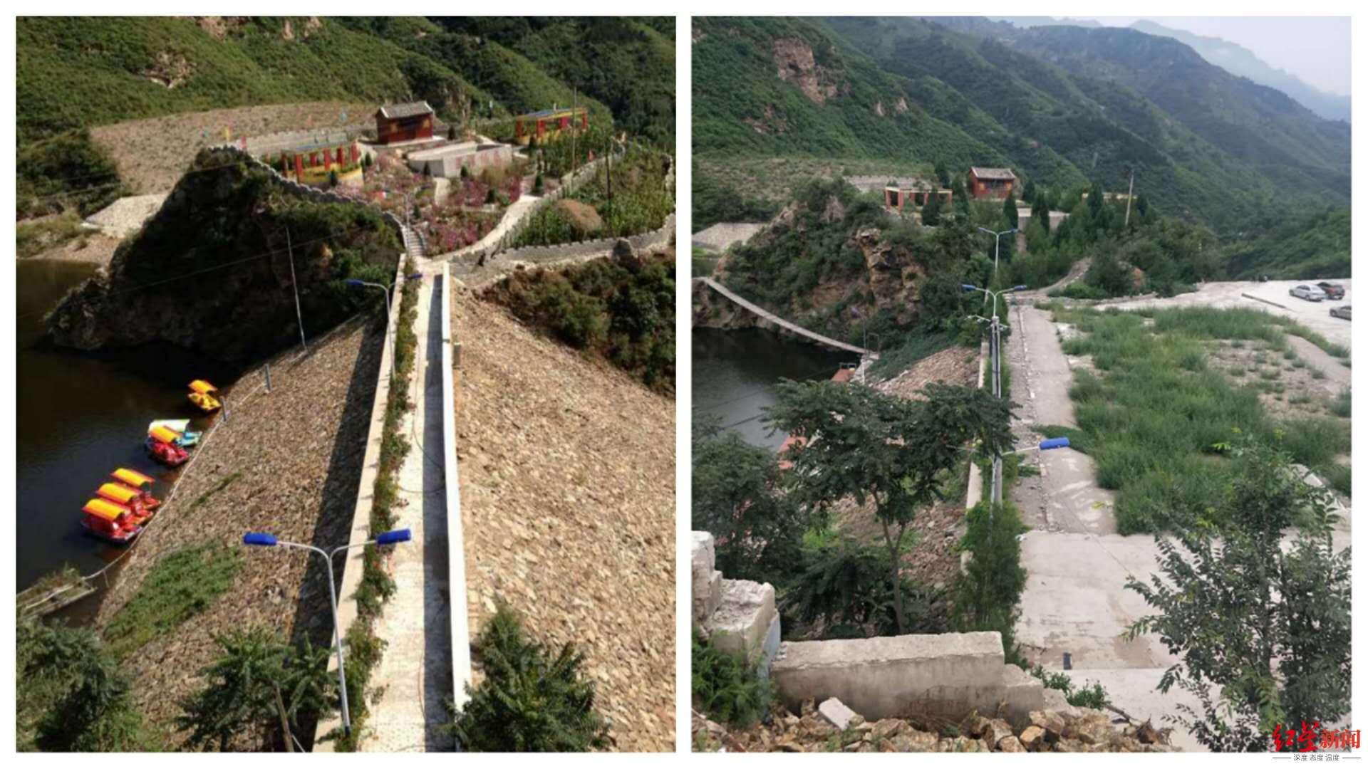 ↑上图左侧为2013年大坝外侧的斜坡,右侧图片为2020年拍摄,大坝外侧已经被完全填平。
