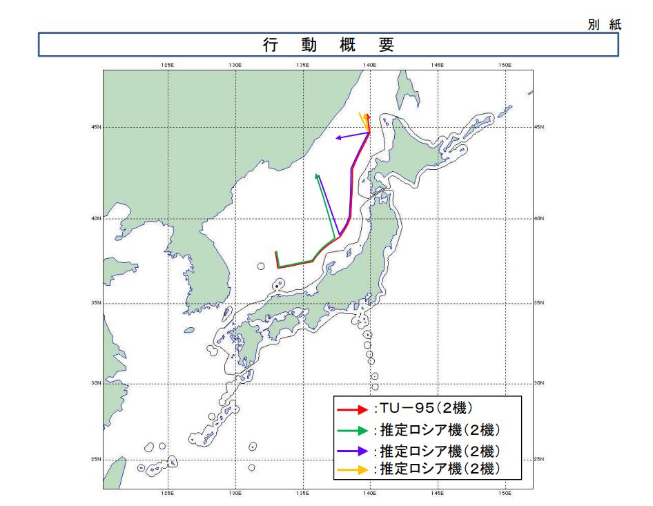 日本防卫省发布的8月19日俄罗斯战机飞行路线