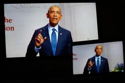 8月19日,美国前总统奥巴马在线出席美国民主党全国代表大会。新华社记者 刘杰 摄