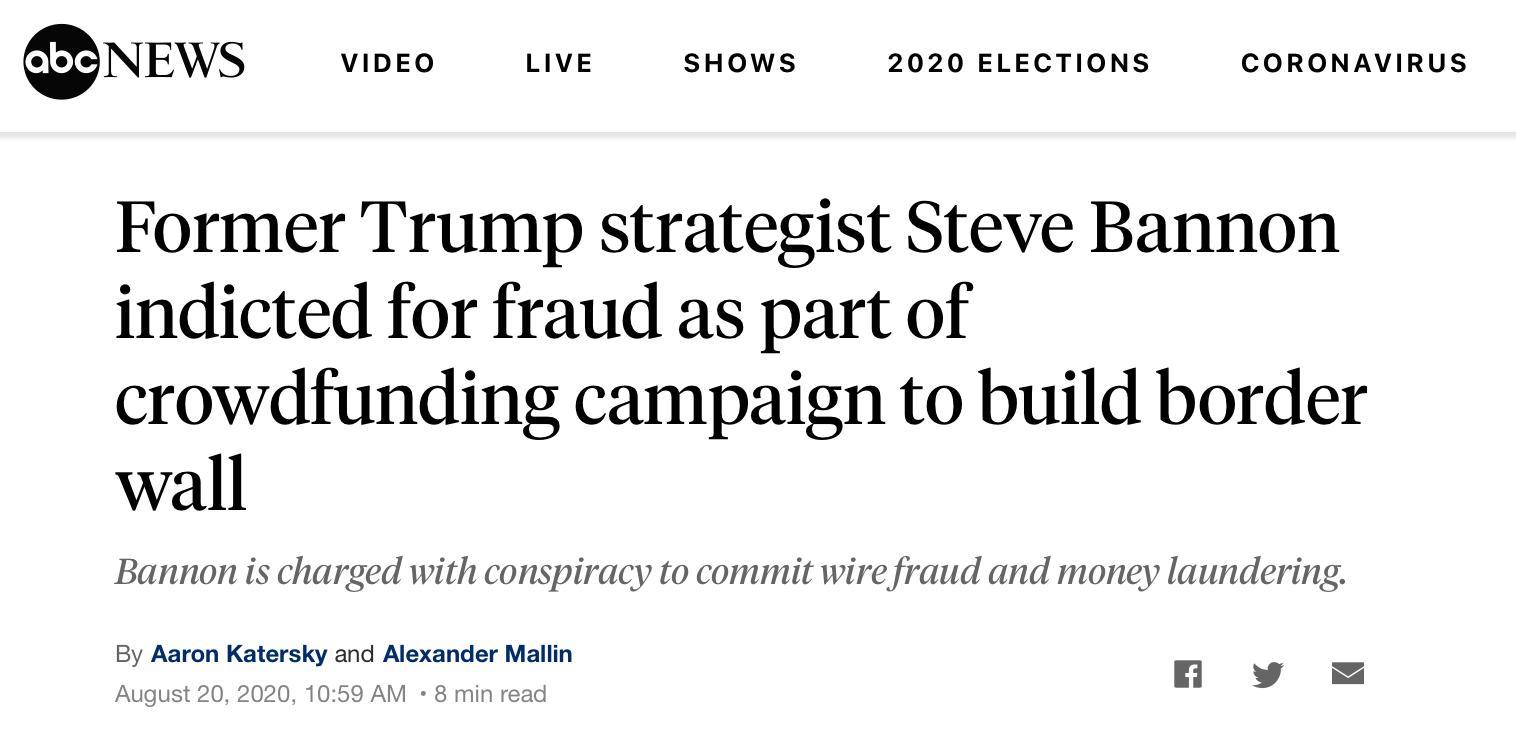 "△ABC新闻称,前特朗普战略师史蒂夫·班农在""建墙""一募捐活动中被控欺诈"