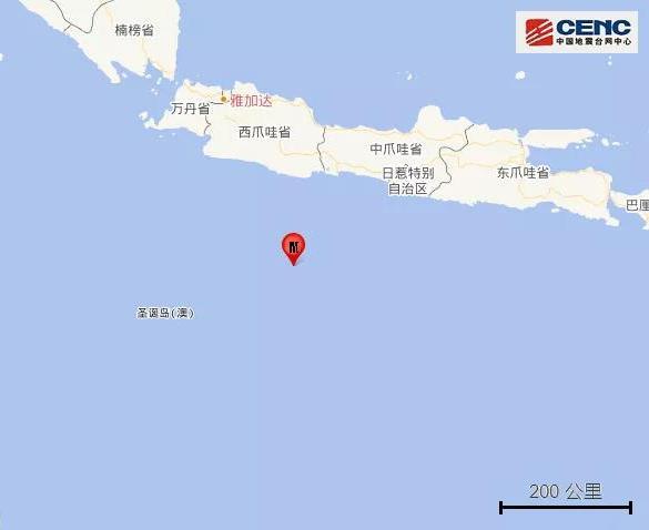 印尼爪哇岛以南海域发生5.2级地震