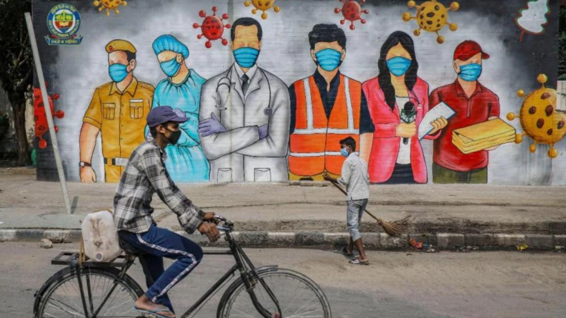 印度街头防疫宣传壁画