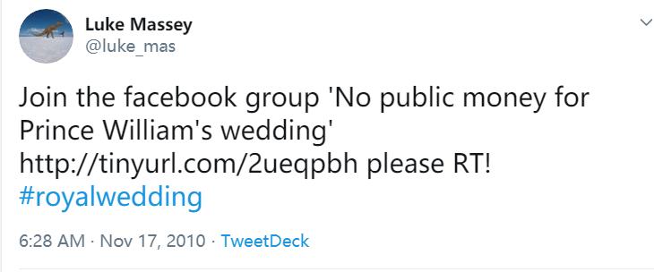 """英国网民此前发起""""反对用公款筹办王子婚礼""""的群组,图源:推特"""