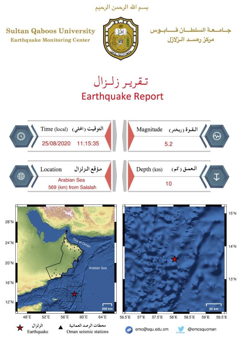 阿曼南部海域发生5.2级地震