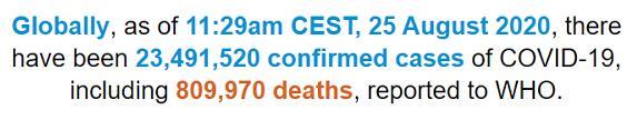 世卫组织:全球新冠肺炎确诊病例累计超2349万例