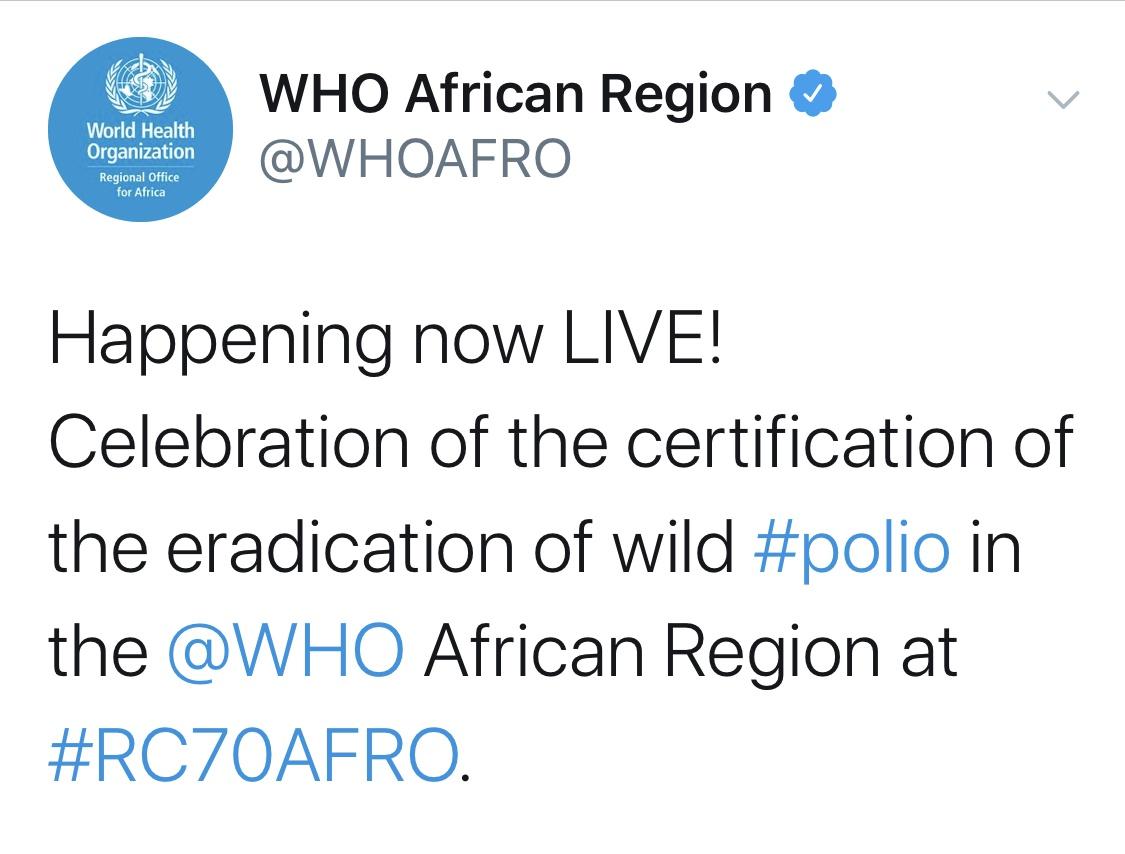 △世卫组织:非洲地区不再存在野生脊髓灰质炎病毒